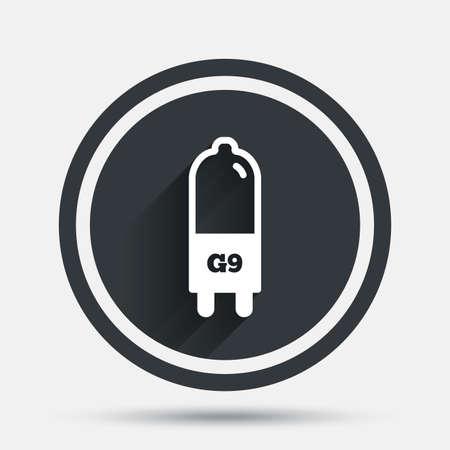 enchufe de luz: icono de la bombilla. G9 lámpara símbolo socket. Dirigido o señal de luz halógena. botón plano círculo con sombra y la frontera. Vector Vectores