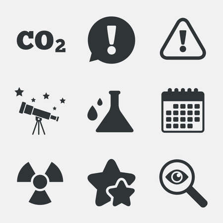 danger carbon dioxide  co2  labels: Attention and radiation icons. Chemistry flask sign. CO2 carbon dioxide symbol. Attention, investigate and stars icons. Telescope and calendar signs. Vector