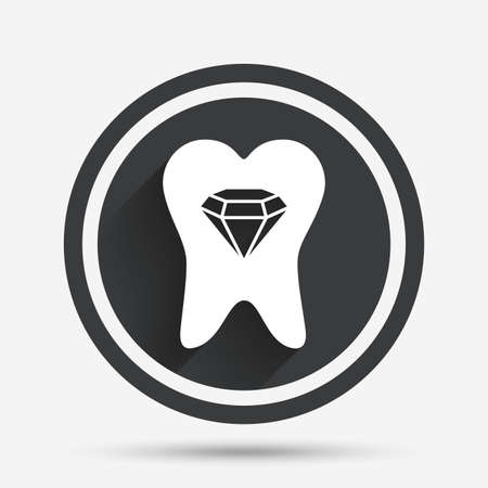 prestige: Tooth crystal icon. Tooth jewellery sign. Dental prestige symbol. Circle flat button with shadow and border. Vector