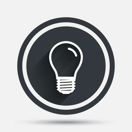 e27: Light bulb icon. Lamp E27 screw socket symbol. Led light sign. Circle flat button with shadow and border. Vector