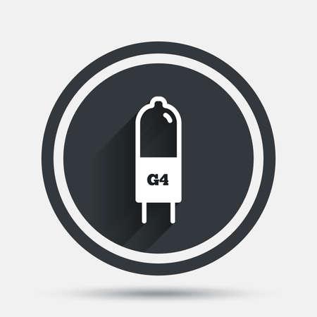 enchufe de luz: icono de la bombilla. G4 lámpara símbolo socket. Dirigido o señal de luz halógena. botón plano círculo con sombra y la frontera. Vector