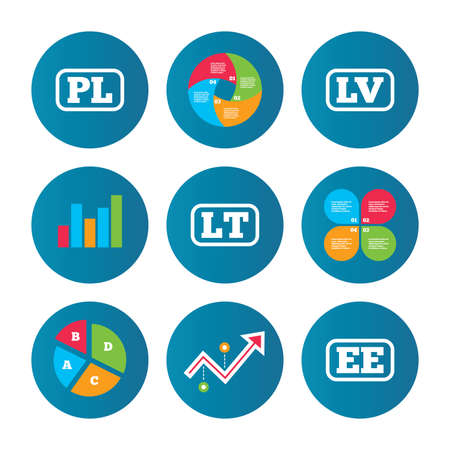 ee: Business pie chart. Growth curve. Presentation buttons. Language icons. PL, LV, LT and EE translation symbols. Poland, Latvia, Lithuania and Estonia languages. Data analysis. Vector