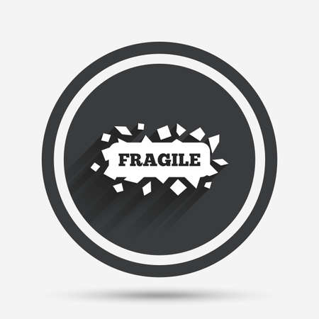 brittle: Fragile parcel sign icon. Delicate package delivery symbol. Circle flat button with shadow and border. Vector