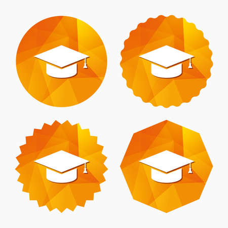higher: Graduation cap sign icon. Higher education symbol. Triangular low poly buttons with flat icon. Vector Illustration