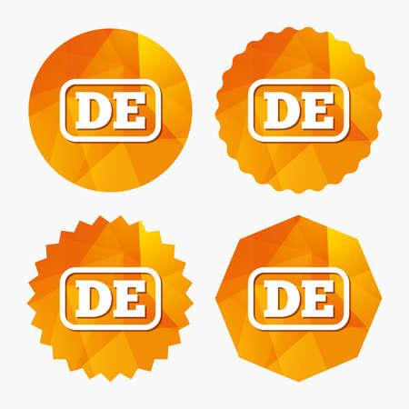 deutschland: German language sign icon. DE Deutschland translation symbol with frame. Triangular low poly buttons with flat icon. Vector