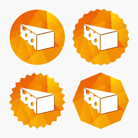 Cheese sign icon. Slice of cheese symbol. Triangle cheese with holes. Triangular low poly buttons with flat icon. Vector