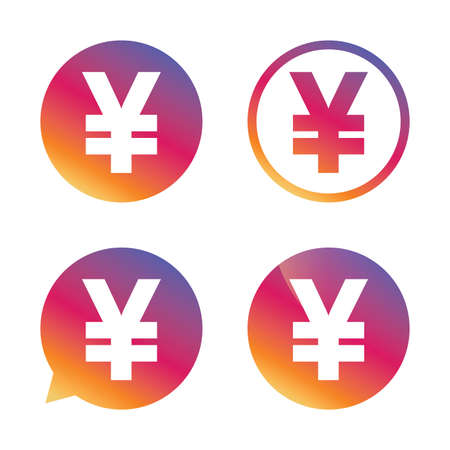 jpy: Yen sign icon. JPY currency symbol. Money label. Gradient buttons with flat icon. Speech bubble sign. Vector