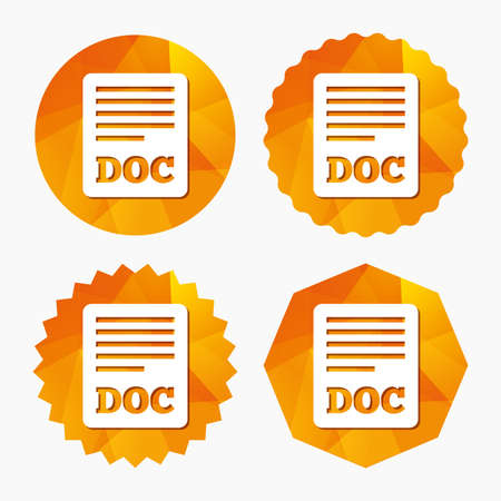 doc: File document icon. Download doc button. Doc file symbol. Triangular low poly buttons with flat icon. Vector