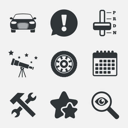 automatic transmission: Transport icons. Car tachometer and automatic transmission symbols. Repair service tool with wheel sign. Attention, investigate and stars icons. Telescope and calendar signs. Vector Illustration