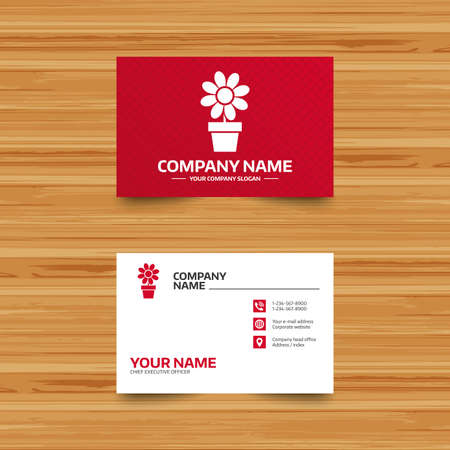 macro flowers: Business card template. Flowers in pot icon. Bouquet of flowers with petals. Macro sign. Phone, globe and pointer icons. Visiting card design. Vector