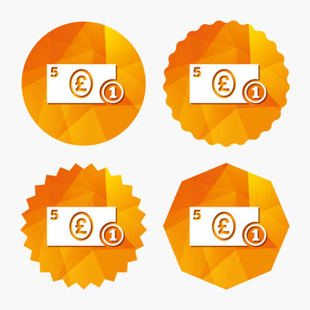 pound coin: Cash sign icon. Pound Money symbol. GBP Coin and paper money. Triangular low poly buttons with flat icon. Vector