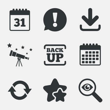 Herunterladen und Backup-Daten-Symbole. Kalender und Rotation Pfeile Symbole unterzeichnen. Achtung, zu untersuchen und Sterne Symbole. Teleskop und Kalenderzeichen. Vektor