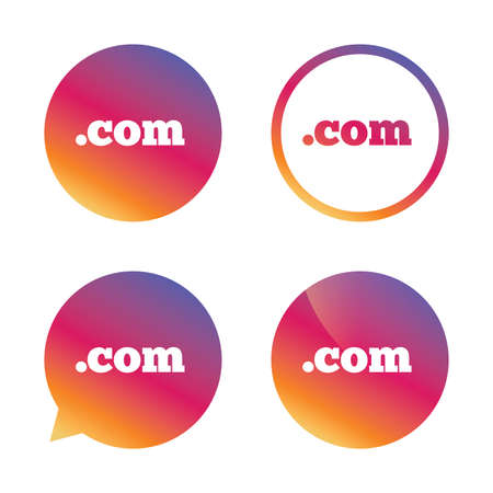 dot com: Domain COM sign icon. Top-level internet domain symbol. Gradient buttons with flat icon. Speech bubble sign. Vector