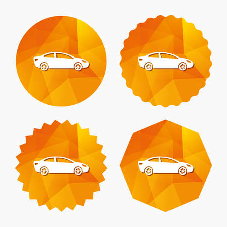 saloon: Car sign icon. Sedan saloon symbol. Transport. Triangular low poly buttons with flat icon. Vector
