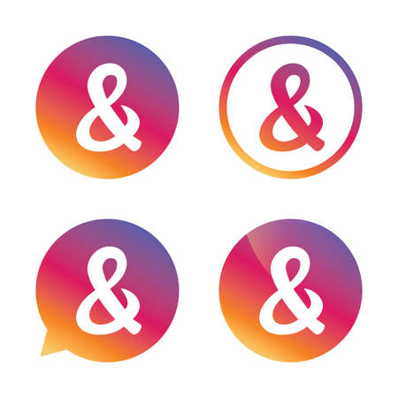 Ampersand sign icon. Programming logical operator AND. Wedding invitation symbol. Gradient buttons with flat icon. Speech bubble sign. Vector Illustration