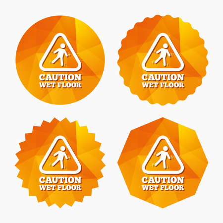 wet floor sign: Caution wet floor sign icon. Human falling triangle symbol. Triangular low poly buttons with flat icon. Vector Illustration