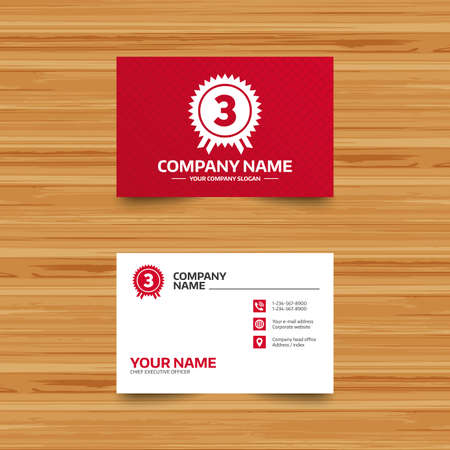 winning location: Business card template. Third place award sign icon. Prize for winner symbol. Phone, globe and pointer icons. Visiting card design. Vector Illustration