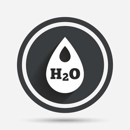 h2o: H2O Water drop sign icon. Tear symbol. Circle flat button with shadow and border. Vector