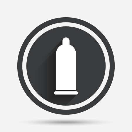 Condón icono de señal de sexo seguro. símbolo de amor seguro. botón plano círculo con sombra y la frontera. Vector