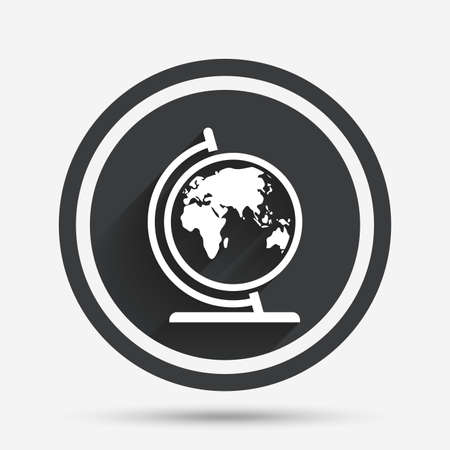 Globe sign icon world map geography symbol circle flat button world map geography symbol globe on stand for studying circle flat button with shadow and border vector gumiabroncs Gallery