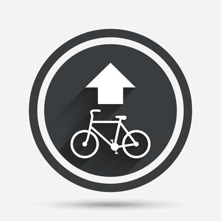 straight path: Bicycle path trail sign icon. Cycle path. Up straight arrow symbol. Circle flat button with shadow and border. Vector Illustration