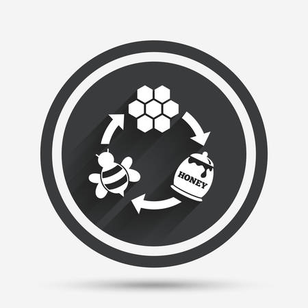 beeswax: Producing honey and beeswax sign icon. Honeycomb cells symbol. Honey in pot. Sweet natural food cycle in nature. Circle flat button with shadow and border. Vector