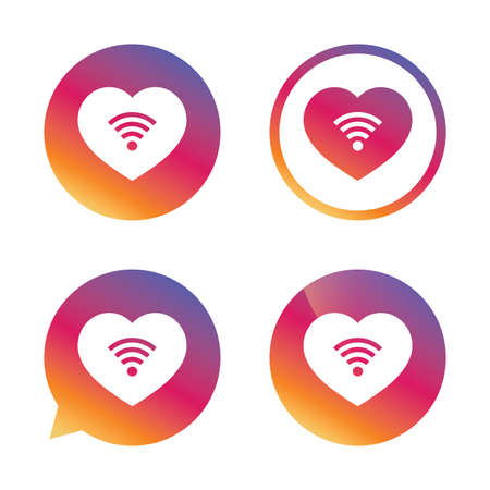 love icon: Love Wifi sign. Wifi symbol. Wireless Network icon. Wifi zone. Gradient buttons with flat icon. Speech bubble sign. Vector