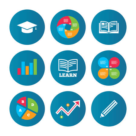 higher: Business pie chart. Growth curve. Presentation buttons. Pencil and open book icons. Graduation cap symbol. Higher education learn signs. Data analysis. Vector Illustration
