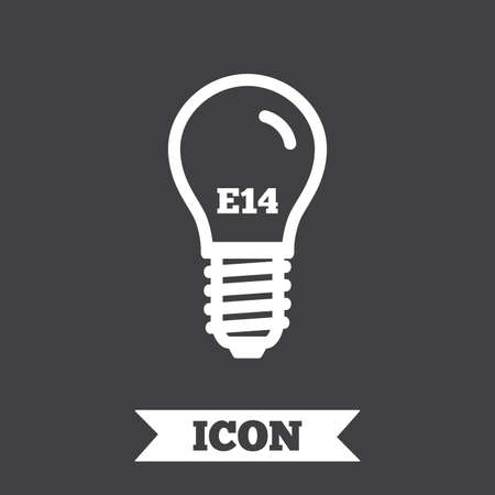 led: Light bulb icon. Lamp screw socket symbol. Led light sign. Graphic design element. Flat lamp symbol on dark background. Vector