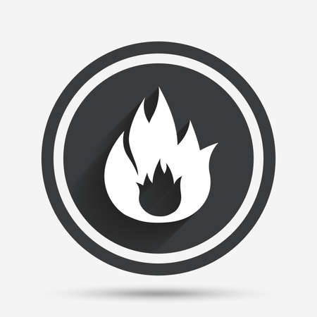 fire circle: Fire flame sign icon. Fire symbol. Stop fire. Escape from fire. Circle flat button with shadow and border. Vector Illustration