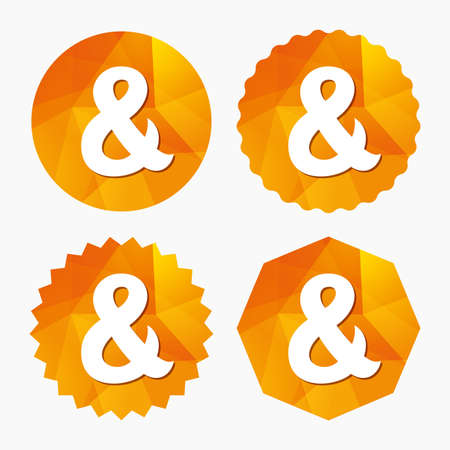 logical: Ampersand sign icon. Programming logical operator AND. Wedding invitation symbol. Triangular low poly buttons with flat icon. Vector
