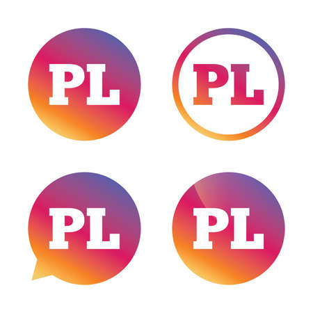 pl: Polish language sign icon. PL translation symbol. Gradient buttons with flat icon. Speech bubble sign. Vector