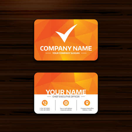 wood tick: Business or visiting card template. Check sign icon. Yes symbol. Confirm. Phone, globe and pointer icons. Vector