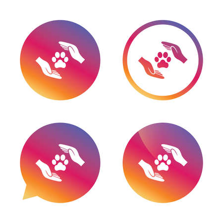 Protection of animals sign icon. Hands protect paw symbol. Shelter for dogs. Animals insurance. Gradient buttons with flat icon. Speech bubble sign. Vector 向量圖像