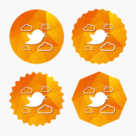 nestling birds: Bird icon. Social media sign. Short messages symbol. Clouds with sun. Triangular low poly buttons with flat icon. Vector Illustration
