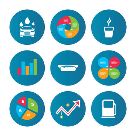 growth hot: Business pie chart. Growth curve. Presentation buttons. Petrol or Gas station services icons. Automated car wash signs. Hotdog sandwich and hot coffee cup symbols. Data analysis. Vector Illustration