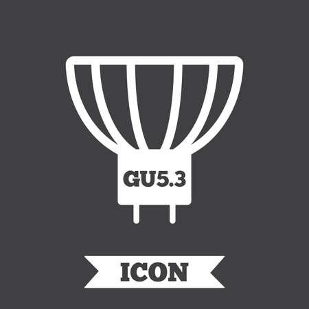 enchufe de luz: Light bulb icon. Lamp socket symbol. Led or halogen light sign. Graphic design element. Flat  lamp symbol on dark background. Vector Vectores