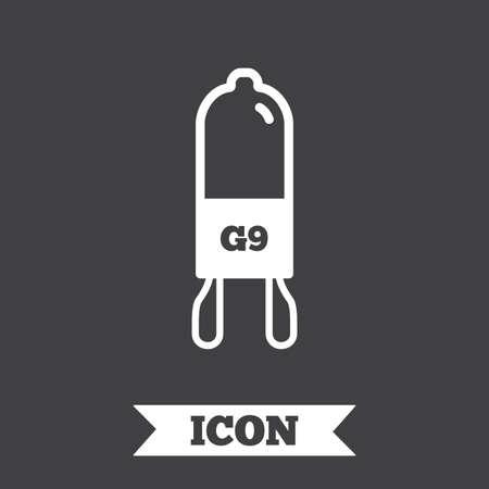 enchufe de luz: icono de la bombilla. símbolo casquillo de la lámpara. Dirigido o señal de luz halógena. elemento de diseño gráfico. símbolo de luz de plano sobre fondo oscuro. Vector Vectores