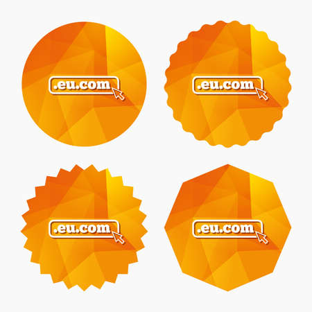 subdomain: Domain EU.COM sign icon. Internet subdomain symbol with cursor pointer. Triangular low poly buttons with flat icon. Vector Illustration