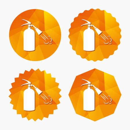 Fire extinguisher sign icon. Fire safety symbol. Triangular low poly buttons with flat icon. Vector