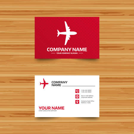 travel phone: Business card template. Airplane sign. Plane symbol. Travel icon. Flight flat label. Phone, globe and pointer icons. Visiting card design. Vector