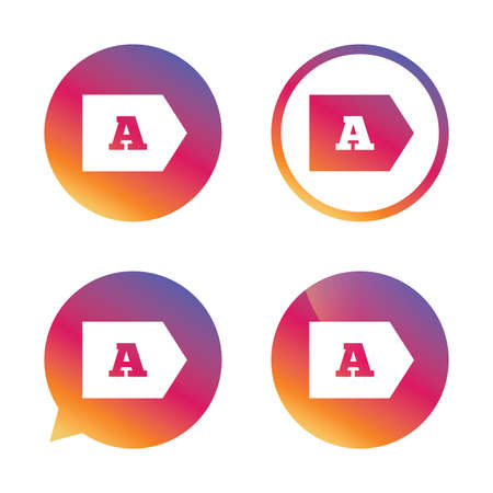 energy consumption: Energy efficiency class A sign icon. Energy consumption symbol. Gradient buttons with flat icon. Speech bubble sign. Vector