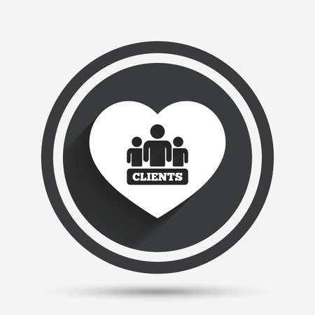 shadow people: Love Clients sign icon. Group of people symbol. Circle flat button with shadow and border. Vector