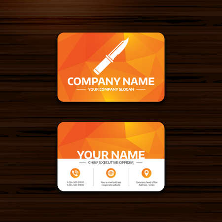 edged: Business or visiting card template. Knife sign icon. Edged weapons symbol. Stab or cut. Hunting equipment. Phone, globe and pointer icons. Vector