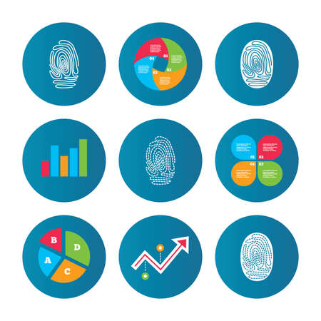 biometric: Business pie chart. Growth curve. Presentation buttons. Fingerprint icons. Identification or authentication symbols. Biometric human dabs signs. Data analysis. Vector Illustration