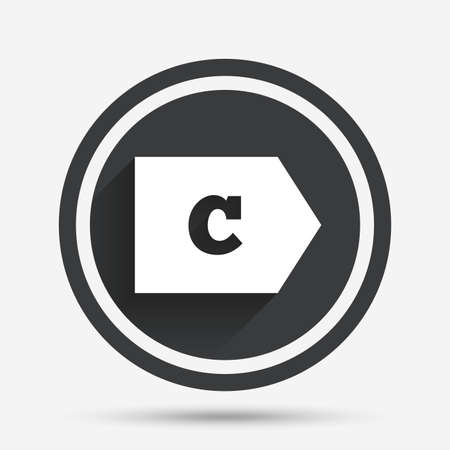 energy consumption: Energy efficiency class C sign icon. Energy consumption symbol. Circle flat button with shadow and border. Vector
