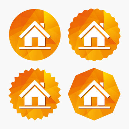 Home sign icon. Main page button. Navigation symbol. Triangular low poly buttons with flat icon. Vector Illustration