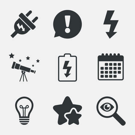 spiral cord: Electric plug icon. Lamp bulb and battery symbols. Low electricity and idea signs. Attention, investigate and stars icons. Telescope and calendar signs. Vector