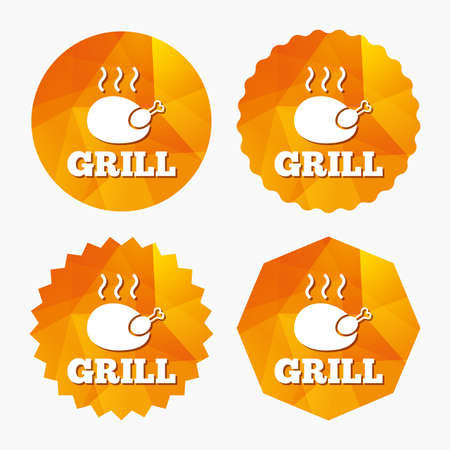 chicken grill: Roast chicken grill sign icon. Hen bird meat symbol. Triangular low poly buttons with flat icon. Vector Illustration