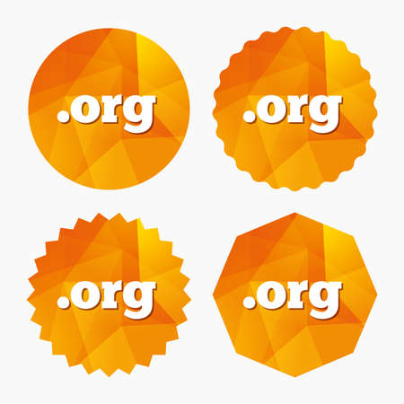org: Domain ORG sign icon. Top-level internet domain symbol. Triangular low poly buttons with flat icon. Vector Illustration